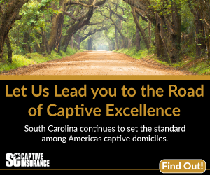Ad--South Carolina Captive Insurance written below a forest path