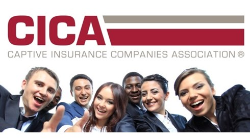 CICA Captive Insurance Companies Association Logo and several businessprofessionals extending hands to greet and assist.