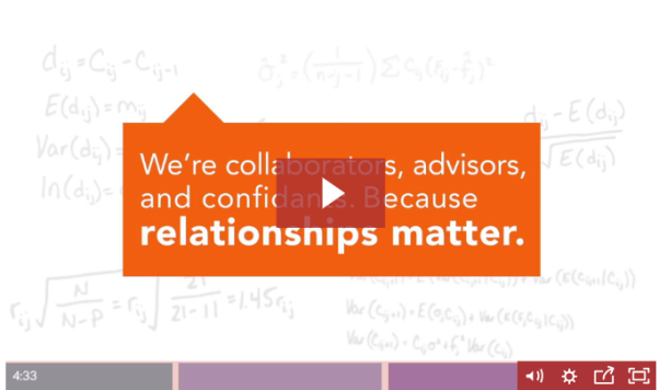 Thumbnail for Pinnacle video showing handwritten math formulas with an orange text bubble that says We're collaborators, advisors, and confidants because relationships matter