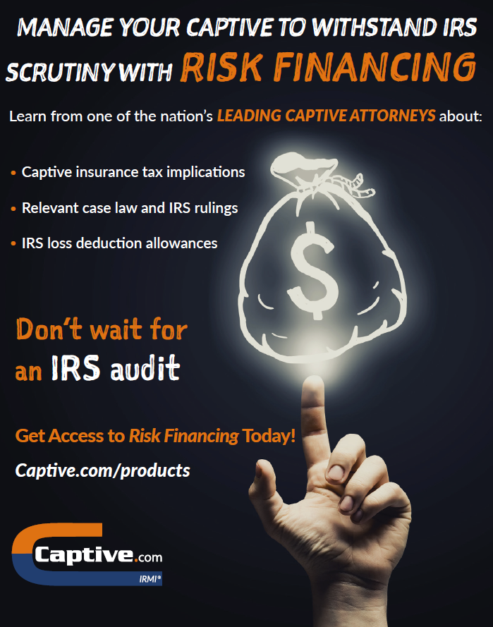 Risk Financing reference to help withstand IRS audit promo with a hand pointing upward to a glowing bag of money