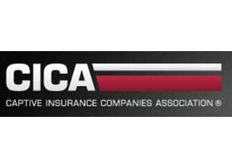 Captive Insurance Companies Association white and red strip logo in black gradient box